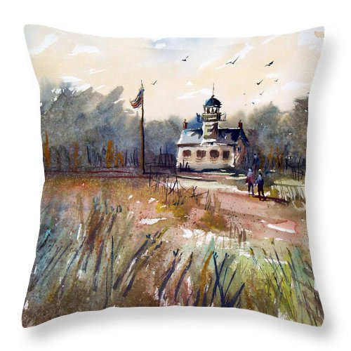 Watercolor Throw Pillow featuring the painting Point Pinos Lighthouse by Ryan Radke