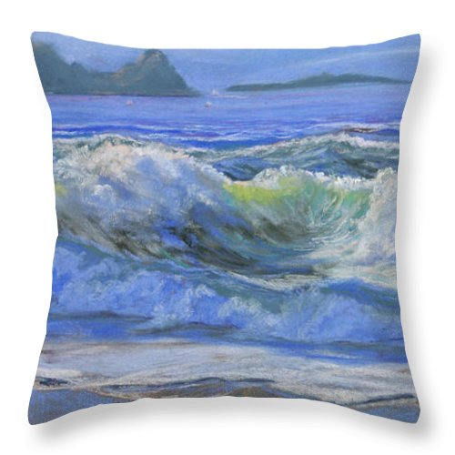 Seascape Throw Pillow featuring the painting Point Reyes by Heather Coen