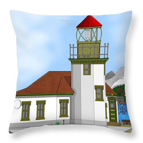 Lighthouse Throw Pillow featuring the painting Point Robinson On Vashon Island by Anne Norskog