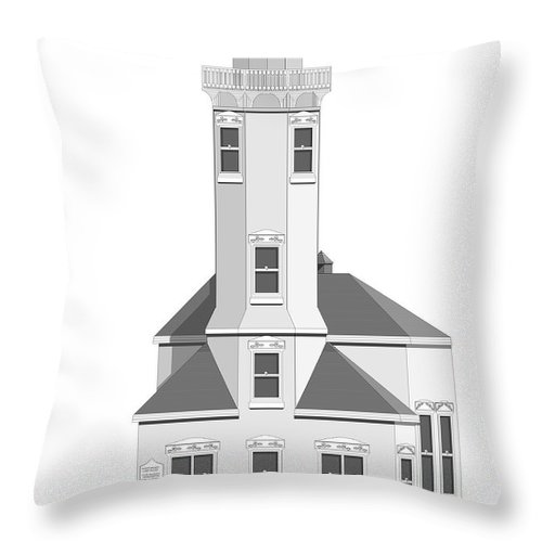Lighthouse Throw Pillow featuring the painting Point Wilson Architectural Drawing by Anne Norskog