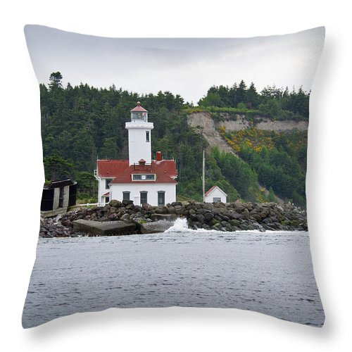 Lighthouse Throw Pillow featuring the photograph Point Wilson Lighthouse by Chad Davis