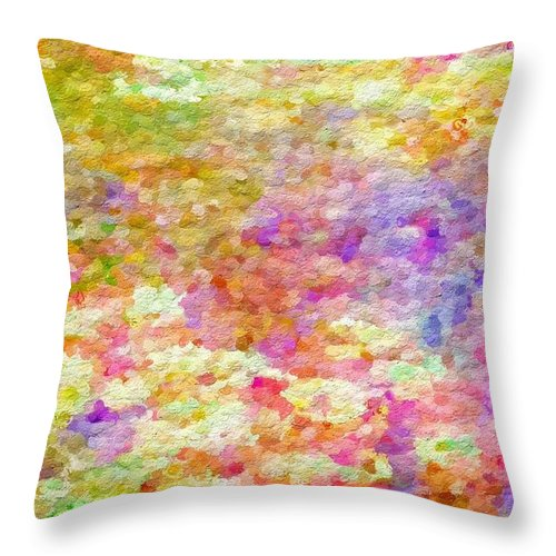 Abstract Throw Pillow featuring the photograph Pointillist Colour by Rita Koivunen