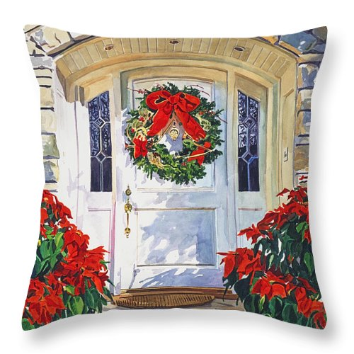 Pointsettia Throw Pillow featuring the painting Pointsettia House by David Lloyd Glover
