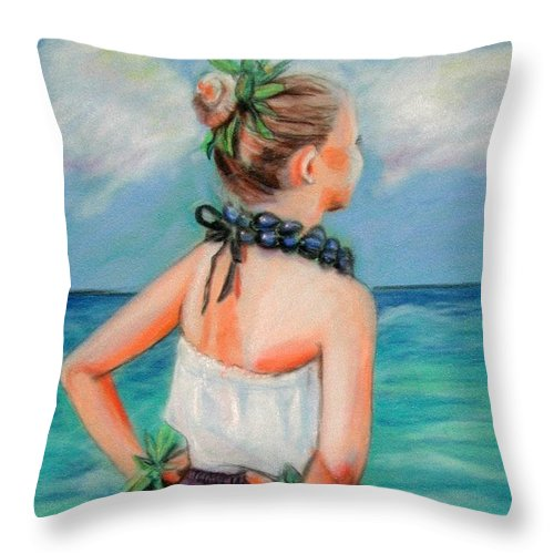 Hula Dance Throw Pillow featuring the painting Poipu Hula by Marionette Taboniar