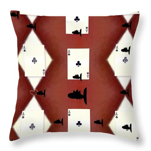 Card Throw Pillow featuring the mixed media Poker Sharks by Pepita Selles