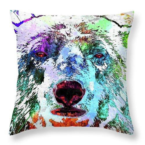 Polar Bear Colored Throw Pillow featuring the mixed media Polar Bear Colored Grunge by Daniel Janda