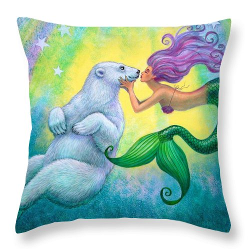 Mermaids Throw Pillow featuring the painting Polar Bear Kiss by Sue Halstenberg
