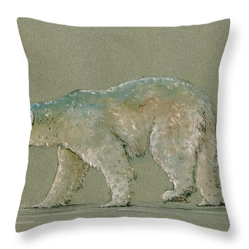 Polar Bear Throw Pillow featuring the painting Polar bear original watercolor painting art by Juan Bosco