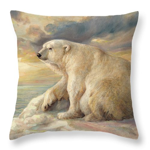 Polar Bear Throw Pillow featuring the painting Polar Bear Rests On The Ice - Arctic Alaska by Svitozar Nenyuk