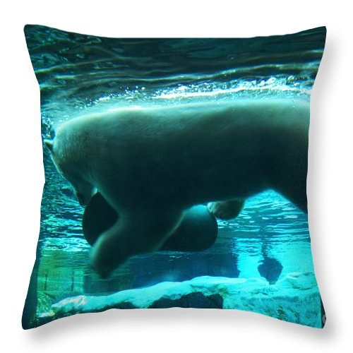 Polar-bear Throw Pillow featuring the photograph Polar Play by Linda Shafer