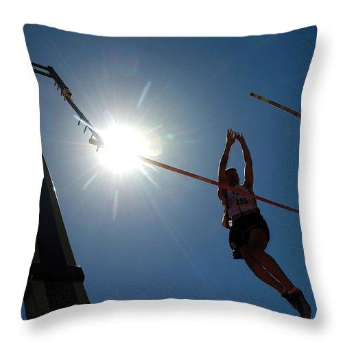 Pole Vault Throw Pillow featuring the photograph Pole Vault Success by Steve Somerville
