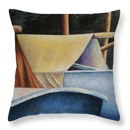Sailboats Throw Pillow featuring the painting Poles by Julie Dalton Gourgues