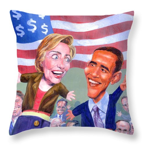Hillary Clinton Throw Pillow featuring the painting Political Puppets by Ken Meyer