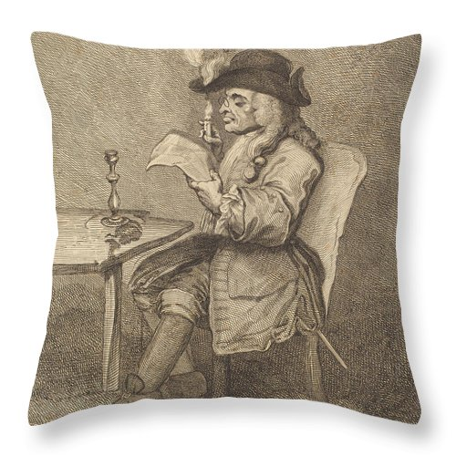 Throw Pillow featuring the drawing Politician by John Keyse Sherwin After William Hogarth