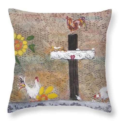 Chickens Flock In This Decorative Mexican Piece Throw Pillow featuring the painting Pollos by Sarah Wharton White