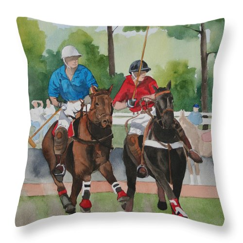 Polo Throw Pillow featuring the painting Polo In The Afternoon 2 by Jean Blackmer