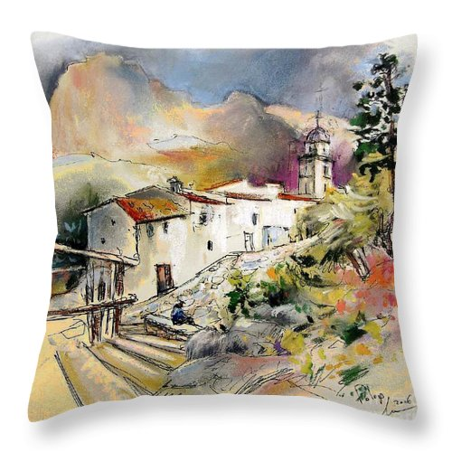 Pastel Painting Throw Pillow featuring the painting Polop De La Marina 01 by Miki De Goodaboom