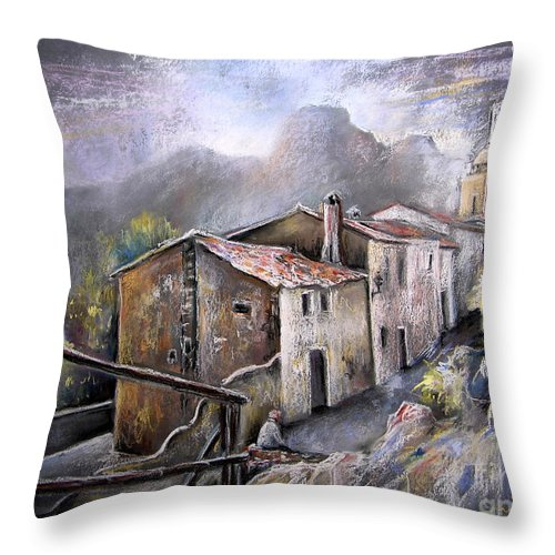 Pastel Painting Throw Pillow featuring the painting Polop De La Marina 03 by Miki De Goodaboom