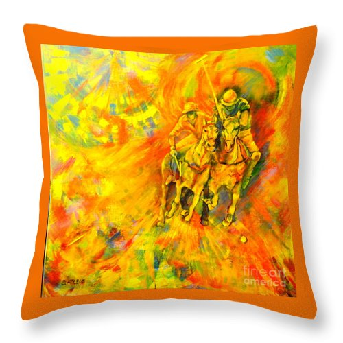 Horses Throw Pillow featuring the painting Poloplayer by Dagmar Helbig