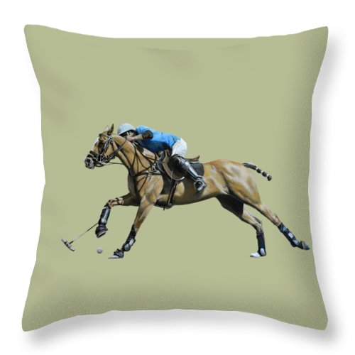 Polo Prints Throw Pillow featuring the painting Polo,polo,polo by Mark Robinson