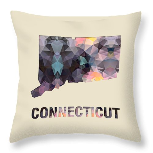 Connecticut State Map United+states America Maps Cartography Geography Municipalities Travel Routes Throw Pillow featuring the painting Polygon Mosaic Parchment Map Connecticut by Elaine Plesser