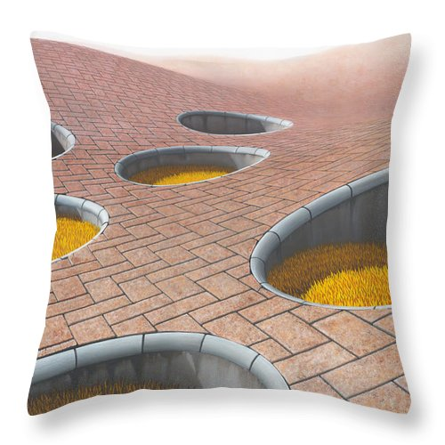 Architecture Throw Pillow featuring the painting Polytrichum Antrum by Patricia Van Lubeck