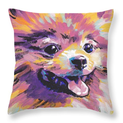 Pomeranian Throw Pillow featuring the painting Pom Pom by Lea S