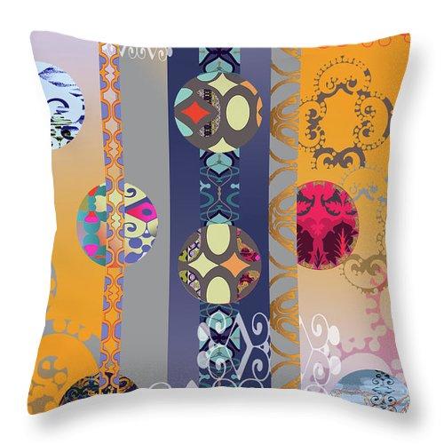 Digital Throw Pillow featuring the digital art Pompoms 3 by Ceil Diskin