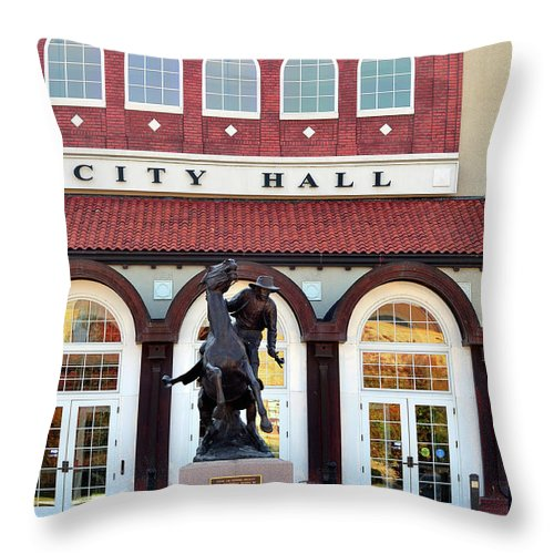 Ponca City Throw Pillow featuring the photograph Ponca City City Hall by Betty LaRue