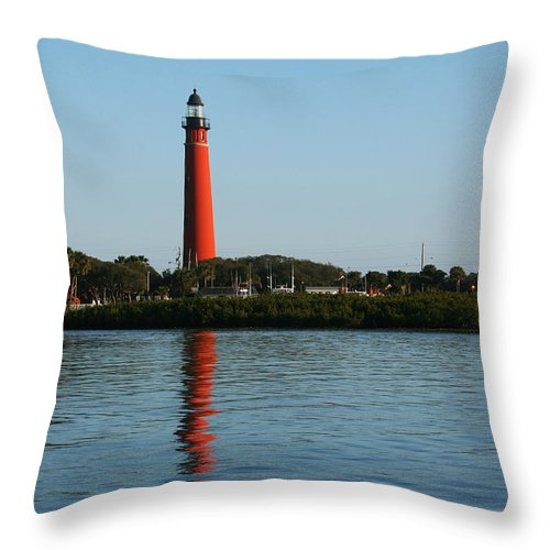 Lighthouse Tall Red Water Reflection Fl Sky Blue Wave Ripple Inlet Travel Tourist Vacation Throw Pillow featuring the photograph Ponce Inlet Lighthouse by Andrei Shliakhau