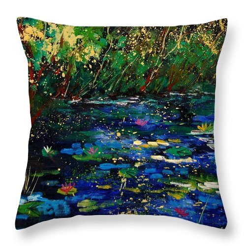Water Throw Pillow featuring the painting Pond 459030 by Pol Ledent