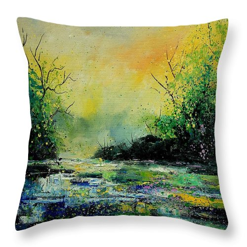 Water Throw Pillow featuring the painting Pond 459060 by Pol Ledent