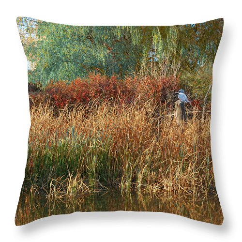 Art Throw Pillow featuring the digital art Pond Cattail Weeping Willow With Kingfisher by R christopher Vest