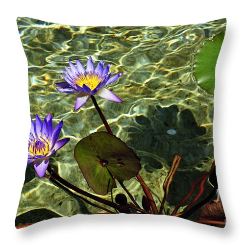 Clay Throw Pillow featuring the photograph Pond Florals by Clayton Bruster