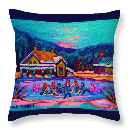 Pond Hockey Throw Pillow featuring the painting Pond Hockey Two by Carole Spandau