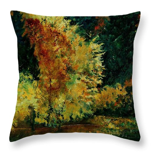 Landscape Throw Pillow featuring the painting Pond In Fenffe by Pol Ledent