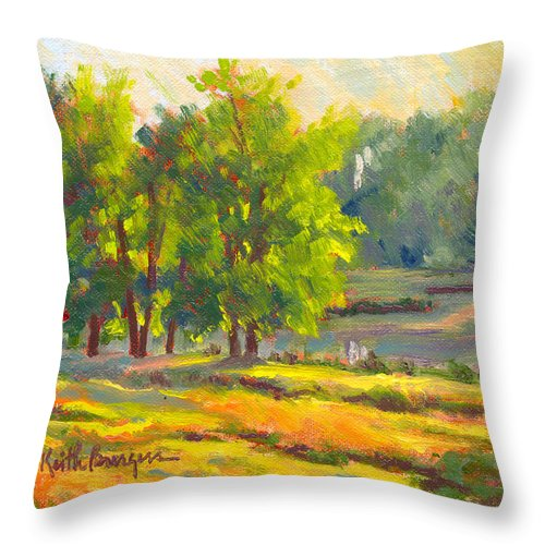 Impressionism Throw Pillow featuring the painting Pond In Morning Light by Keith Burgess