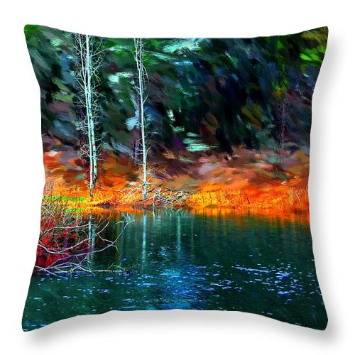 Digital Photograph Throw Pillow featuring the photograph Pond In The Woods by David Lane