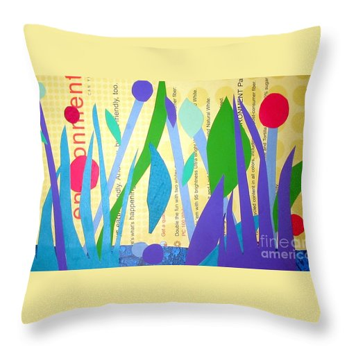 Landscape Throw Pillow featuring the mixed media Pond Life by Debra Bretton Robinson