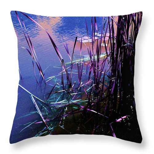 Reeds In Pond At Sunset Throw Pillow featuring the photograph Pond Reeds At Sunset by Joanne Smoley