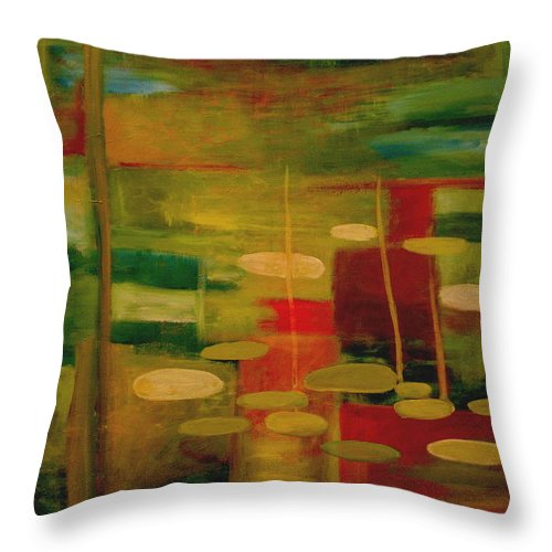 Pond Throw Pillow featuring the painting Pond Reflections by Jun Jamosmos