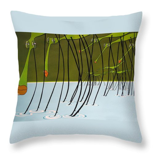 Drawing Throw Pillow featuring the painting Pond Skaters by Patricia Van Lubeck