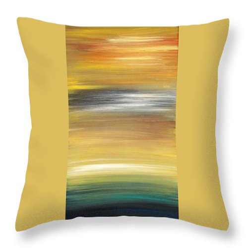 Waves Throw Pillow featuring the painting Pond by Todd Hoover
