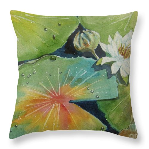 Waterlily Throw Pillow featuring the painting Pond Water Lily by Midge Pippel
