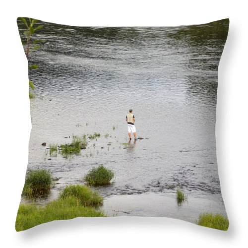 Fishing Throw Pillow featuring the photograph Pondering Fisherman by William Tasker