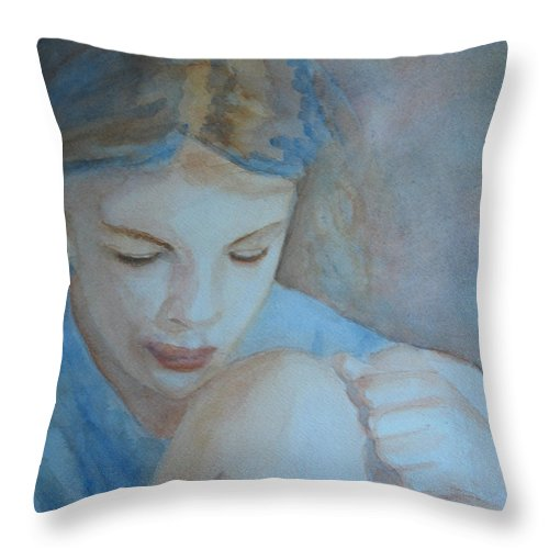 Girl Throw Pillow featuring the painting Pondering by Jenny Armitage