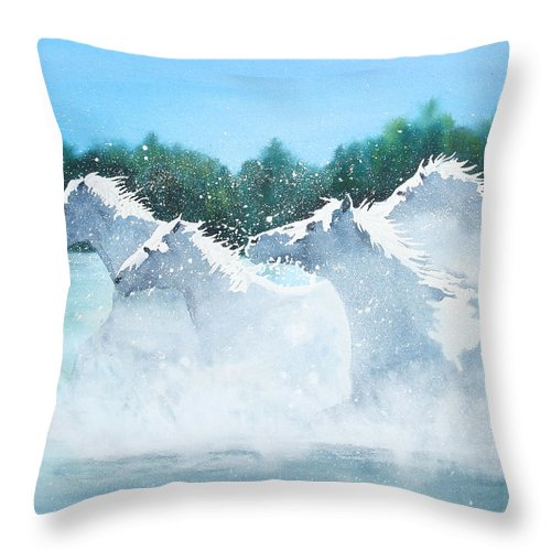 Horse Throw Pillow featuring the painting Splash 2 by Ally Benbrook