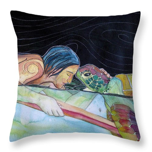 Surfing Throw Pillow featuring the painting Pono--harmony by Kimberly Kirk