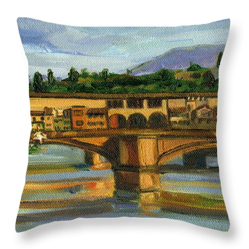 Ponte Vecchio Throw Pillow featuring the painting Ponte Vecchio In 2007 by Jennie Traill Schaeffer
