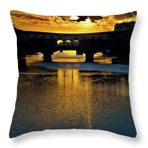Ponte Vecchio Throw Pillow featuring the photograph Ponte Vecchio Sunset by Harry Spitz